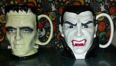 Frankenstein Dracula Teleflora Giant Halloween Party Mugs Vases | eBay