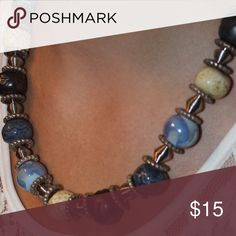 Stylish necklace Blues and cream beads make up this great little necklace. Would be perfect with denim! Jewelry Necklaces