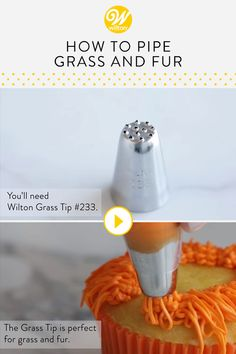 The grass tip is popular for making buttercream grass and for piping hair or fur. Learn how to use a grass tip for decorating cakes, cupcakes and other desserts. Use this technique to create Easter or springtime treats or for making fun animal-themed desserts! #wiltoncakes #pipingtips #buttercream #buttercreamfrosting #buttercreamcupcakes #buttercreamcakes #howto #diy #grass #fur #hair #cakedecorating #cupcakedecorating #cakeideas #cupcakeideas