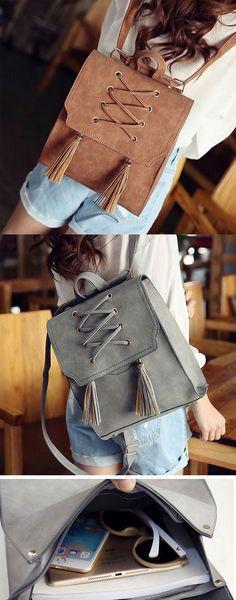 Which color do you like? Retro Girl's Cross Bandage Tassels Flap Square School Bag Weave Leisure Brown Travel Backpack #retro #cross #tassel #square #school #backpack #bag #weave #brown