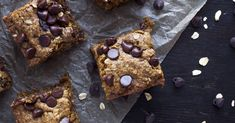 These chocolate chip oat bars are made with healthier ingredients and are free of gluten, dairy, and refined sugar!