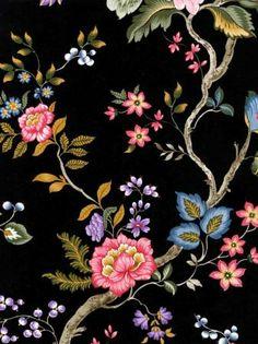 Shand Kydd wallpaper - floral on black background Textiles, Textile Patterns, Textile Prints, Textile Design, Print Patterns, Black Wallpaper, Flower Wallpaper, Pattern Wallpaper, Botanical Flowers