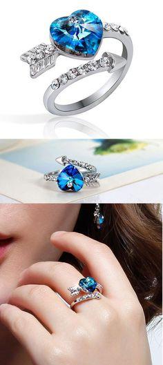 So romantic gift! Romantic Arrows Of Love Heart Crystal Ring #ring #gift #arrow #love #heart #cute