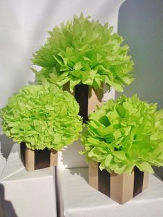 Wedding table centerpiece wedding decoration by lindseyelizabeth03/ light green tissue paper flowers