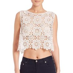 Free People Modern Cutwork Top ($46) ❤ liked on Polyvore featuring tops, apparel & accessories, white, crochet crop top, free people tops, sleeveless tops, boxy top and crochet sleeveless top