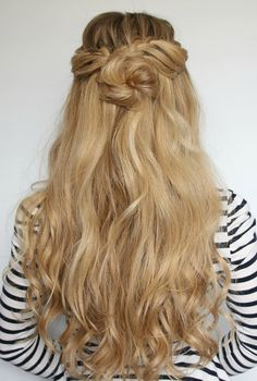 Luxy Hair Romantic Hairstyle: Half-Up Flower Bun with looped waterfall braid pieces (Video tutorial)