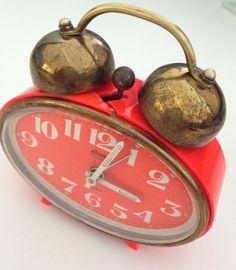 Vintage Orange German Alarm Clock