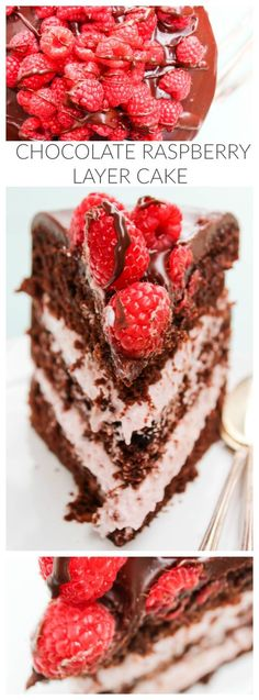 Chocolate Raspberry Layer Cake - layers of chocolate cake & raspberry cream; ganache & fresh raspberries, it's gorgeous & incredibly delicious. Menu Desserts, Easy Desserts, Delicious Desserts, Dessert Recipes, Yummy Food, Cupcakes, Cupcake Cakes, Cake Icing, Food Cakes