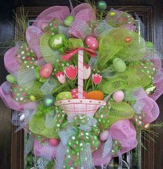 Darling Easter Basket Wreath!!! Bebe'!!! Love the Eggs scattered about the Wreath!!!