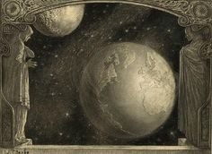 "nelsoncarpenter:  "" heartspokesperson: Wladyslaw T. Benda, Earth with the Milky Way and Moon, 1918.  """