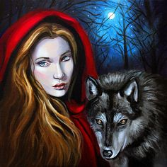 """""""The Company of Wolves"""", acrylic on canvas, 12 x 12, by Kamille Freske"""
