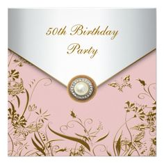 Shop Womans Gold Butterfly Birthday Party Invitation created by decembermorning. 50th Birthday Party Invitations, 50th Birthday Cards, Wedding Invitation Kits, Happy 50th Birthday, Laser Cut Wedding Invitations, Gold Invitations, Digital Invitations, Fiftieth Birthday, Butterfly Birthday Party