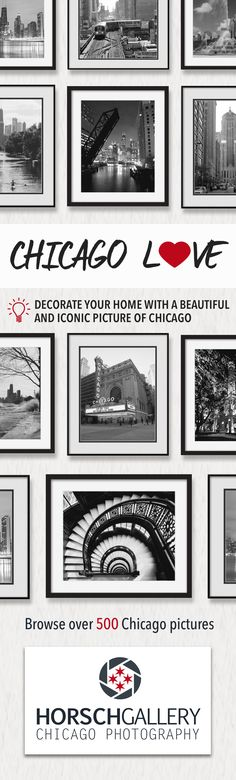 Decorate your current or future home with an element of the city you love, Sweet Home Chicago. The photographer, Bob Horsch, has been documenting the dynamic landscape of Chicago for nearly 35 years. At HorschGallery.com, you can browse over 500 pictures including historic black and white Chicago prints, Chicago skyline art, and photos of the Chicago sports stadiums. Our black and white Chicago pictures are a stylish complement to any room decor in your home.