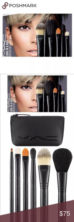 NEW MAC Brush Set 'Look In A Bag' 7 piece Set New in box, never opened. 6 brushes and 1 bag set, $170 value.                                                                  From MAC comes a set of six essential brushes for travel or for the beginner. A convenient black zippered neoprene bag is included for on-the-go storage.       Brushes      129SE: Powder/Blush Brush      190SE: Foundation Brush      195SE: Concealer Brush      211SE: Pointed Liner Brush      224SE: Tapered Blending Brush…