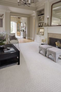 White Carpet In Living Room! Clean Living Room. #white