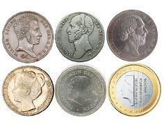 Zes Nederlandse vorsten op de munten, door de jaren heen.