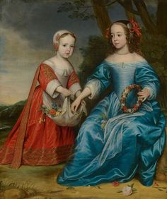 Double Portrait of Prince Willem III (1650- 1702) and his Aunt Maria, Princess of Orange (1642-1688), as Children by Gerard van Honthorst Mauritshuis