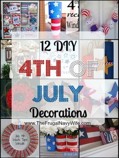 I love using my DIY of July Decorations as my summer decor as well from Memorial Day to Labor Day! These 12 DIY decor ideas are on the top of my list to make this year. Fourth Of July Decor, 4th Of July Celebration, 4th Of July Decorations, 4th Of July Party, July 4th, Holiday Crafts, Holiday Fun, Festive, Holiday Decor