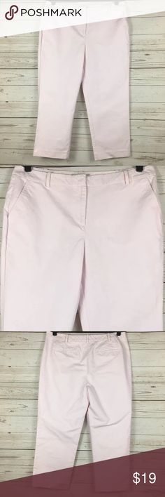 TALBOTS Pink Cropped Pant Size:  12 Color:  Pink Material:  Cotton Closure:  Zipper Care:  Machine Wash Condition:  No Rips or Stains All measurements are in inches and taken with garment lying flat.  Not doubled.  Waist:  16 1/2 Hips:  20 1/2 Inseam:  23 Rise:  10 Overall Length:  33 Item:   9030817097 Talbots Pants Ankle & Cropped