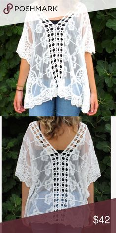 Molly Bracken Lace Cream Poncho Top Features a v neckline in the front and the back. Also has short sleeves, Lace embroidery, and a poncho style body. Tank not included. Molly Bracken Tops Blouses