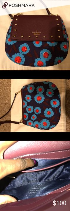 Kate Spade Small Byrdie 💙🧡 This is the SMALL byrdie from Kate Spade, not the normal size.   Beautiful crossbody bag that can fit all of your necessities. Yes, it does fit the iPhone plus models! Does not fit full sized wallet.  BNWOT  Colors: navy, peacock blue, orange, and mahogany kate spade Bags Crossbody Bags