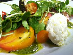 Heirloom Tomatoes, Sunflower Sprouts & Bellwether Farms Ricotta