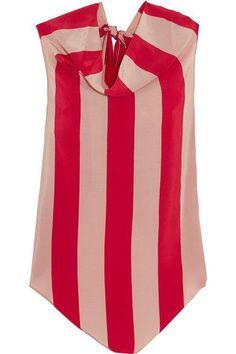 Juan Carlos Obando - Striped Silk Crepe De Chine Top - Red - US10