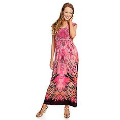 ONE WORLD Pink with Butterflies Stretch Maxi Dress LG Flowers Live ...