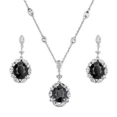 """.925 Sterling Silver Rhodium Coated Contrast CZ Oval Cut Drop Earring and Pendant-Necklace Set with By-the-Yard 1.6mm Rolo Chain - 16""""+1"""" Inches Extension Reeve and Knight. $123.00. Promptly Packaged with Free Shipping and Free Gift Box...Perfect for Gift Giving.. Special manufacturing process held to ensure less wear and tarnish. Rhodium coated for a lasting shine...and little to no silver tarnish.. Guaranteed to contain no Nickel content...completely hypoallergenic. Made us..."""