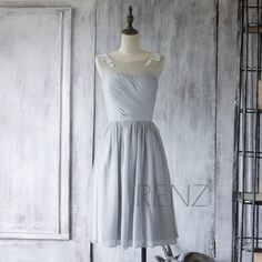 2015 Chiffon Bridesmaid Dress, Grey Short wedding dress, Gray Prom Dress, Formal Dress, Lace Mesh Party Dress Tea Length(F255)-Renzrags Renz