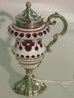 CONTINENTAL SILVER AND BOHEMIAN CUT TO CRANBERRY GLASS MUSTARD POT|