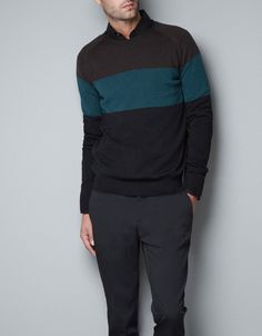 COLOR BLOCK MERINO WOOL SWEATER - Knitwear - Man - ZARA United States $69.90