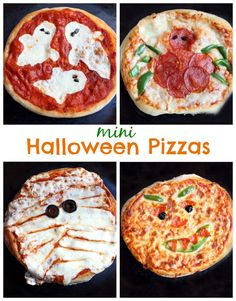 Mini Halloween Pizzas perfect for family night! Plus an amazing No-Rise pizza crust recipe! On MyRecipeMagic.com #pizza #halloween