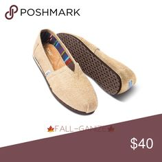 {toms} Natural Burlap Classic EUC 12 M 💯 Authentic Burlap Classics say you're a little rugged but civilized enough to wear shoes. Canvas upper with TOMS toe-stitch, and elastic V for easy on and off TOMS classic suede insole with cushion for comfort Latex arch insert for added support One-piece mixed-rubber outsole for resilience, flexibility and durability. I don't have the Toms box anymore but I will ship in a USPS Box. Toms Shoes Loafers & Slip-Ons