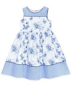 little girl dresses Laura Ashley Stripe Floral Cotton Dress, Toddler amp; Little Girls - Blue Girls Frock Design, Kids Frocks Design, Baby Frocks Designs, Baby Dress Design, Frocks For Girls, Dresses Kids Girl, Little Girl Outfits, Little Girl Fashion, Kids Outfits