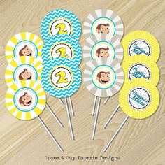 """Curious George Birthday - Curious George Cupcake Toppers - 2"""" Party Circles - Custom"""