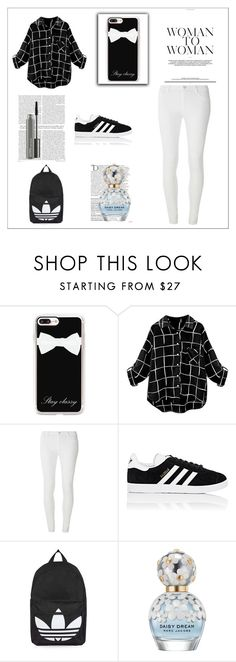 """""""Women to Women Adidas"""" by ruthannvogel ❤ liked on Polyvore featuring Casetify, Dorothy Perkins, adidas, Topshop, Balmain, Marc Jacobs and MAC Cosmetics"""