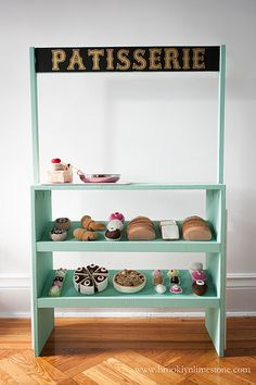 DIY Play Patisserie Stand featuring HABA play food!