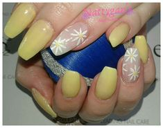 Yellow flower nails for summer Bio Sculpture, Flower Nails, Yellow Flowers, Nail Art, Summer, Beauty, Summer Time, Nail Arts, Beauty Illustration