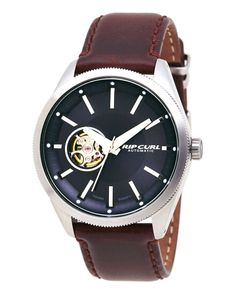 Rip Curl The Civilian Automatic Watch Steel Leather Navy Rip Curl, Old Watches, Watches For Men, Always On Time, Synthetic Ruby, Shops, Surf Outfit, 316l Stainless Steel, Automatic Watch