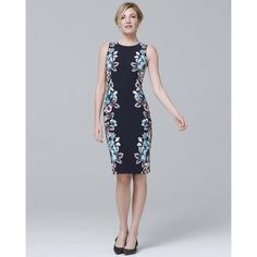 432a0fd7f93 White House Black Market Reversible Floral Print Knit Sheath Dress ( 110) ❤  liked on