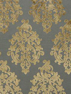 Grey Velvet Damask Upholstery Fabric - Beige Velvet - Modern Damask Material - Velvet by the Yard - Textured Velvet Home Decor