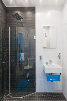 Turquoise color accents and black shower