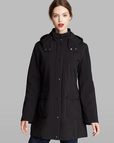 DKNY Coat - Robyn Hooded Walker Soft Shell | Bloomingdale's · Short Coats Black ...