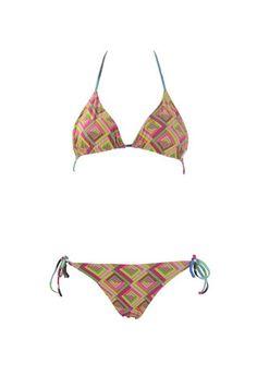 Bini Como - Bikini doubleface con laccetti e reggiseno a triangolo annodato al collo.  80% Poliammide e 20% elastan.