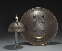 Moghul helm and shield / late Ancient Art, Ancient History, First Battle Of Panipat, Persian Shield, Medieval Weapons, Mughal Empire, Arm Armor, Suit Of Armor, Knights Templar