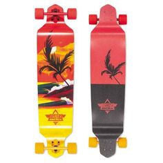 Dusters Thirds Longboard Complete Skateboard, color: Red/Yellow, category/department: skate-completes