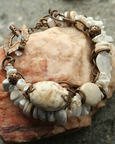 White Turquoise=beautiful! Love all white stone bracelets!