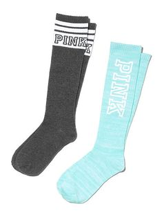 The black ones>>Knee Socks - PINK - Victoria's Secret Victoria Secret Outfits, Victoria Secret Lingerie, Victoria Secret Pink, Pink Knee High Socks, Pink Socks, Site Nike, Crazy Socks, Cute Socks, Pink Brand