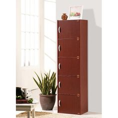 59 in. H Mahogany (Brown) Bookcase with Doors Bookcase Organization, Door Storage, Storage Spaces, Tall Cabinet Storage, Locker Storage, Shelf Organizer, Bathroom Organization, Cupboards For Sale, Mahogany Bookcase
